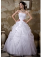 Custom Made Ball Gown Strapless Wedding Dress Taffeta and Organza Pick-ups Floor-length