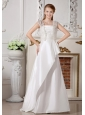 Custom Made Wedding Dress Beading and Bowknot A-line Strapless Brush Train Taffeta