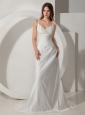 Custom Made Wedding Dress Column / Sheath Straps Ruched Taffeta Court Train