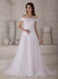 Customize A-line / Princess Off The Shoulder Wedding Dress Court Train Organza