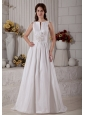 Customize A-line Bateau Wedding Dress Brush Train Taffeta Hand Made Flower