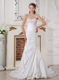 Customize A-line Wedding Dress Sweetheart Appliques and Ruch Court Train Taffeta
