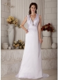 Customize Column Halter Wedding Dress Brush Train Satin Ruch and Beading
