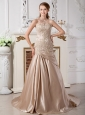 Customize Mermaid Wedding Dress Sweetheart Court Train Satin Appliques