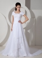 Customize Wedding Dress A-line Square Beading and Ruch Court Train Organza