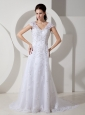 Customize Wedding Dress Column V-neck Beading Court Train Lace