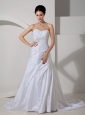 Discount Wedding Dress A-line Sweetheart  Appliques and Ruch Court Train Taffeta