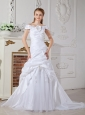 Elegant A-line Off The Shoulder Wedding Dress Court Train Taffeta Hand Made Flowers