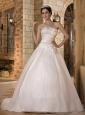 Elegant A-line Strapless Wedding Dress Sweep Train Taffeta and Organza Beading