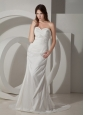 Elegant Ruched Wedding Dress Column / Sheath Sweetheart Court Train Taffeta