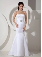 Elegant Wedding Dress Mermaid Beading Strapless Brush Train Satin