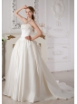 Exquisite A-line Sweetheart Wedding Dress Court Train Taffeta Beading