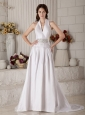 Gorgeous Wedding Dress A-line / Princess High-neck Beading Court Train Taffeta