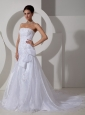 Lovely Wedding Dress Mermaid Strapless Appliques Court Train Organza