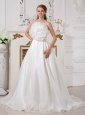 Low Cost A-line Strapless Wedding Dress Court Train Organza Hand Made Flower