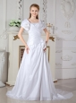 Low Cost A-line Square Wedding Dress Court Train Taffeta Hand Made Flowers