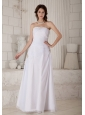 Low Cost Column Strapless Wedding Dress Floor-length Chiffon Beading and Ruch