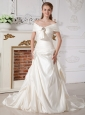 Luxurious A-line Wedding Dress Off The Shoulder Beading Court Train Taffeta