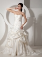New A-line Strapless Wedding Dress Court Train Satin Beading and Ruch