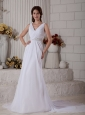 New Column V-neck Beach Wedding Dress Court Train Chiffon Ruch and Beading