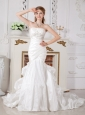 Perfect Mermaid Strapless Wedding Dress Court Train Taffeta Appliques