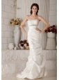 Vintage Mermaid Strapless Wedding Dress Brush Train Taffeta Beading