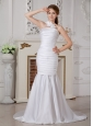 Beautiful Detachable Mermaid One Shoulder Ruch Wedding Dress Brush Train Satin