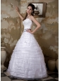 Beautiful Wedding Dress A-line Sweetheart Appliques Floor-length Taffeta and Organza