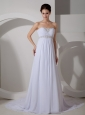 Best Column Sweetheart Wedding Dress Court Train Chiffon Appliques