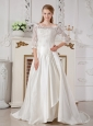 Brand New A-line Off The Shoulder Lace Wedding Dress Court Train Taffeta