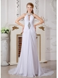 Classical Empire High-neck Beading Wedding Dress Court Train Chiffon