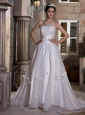 Custom Made A-line Strapless Wedding Dress Chapel Train Taffeta and Organza Ruch and Hand Made Flowers