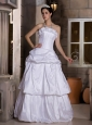 Custom Made A-line Strapless Wedding Dress Floor-length Taffeta Pick-ups