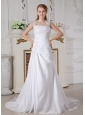 Customize A-line Square Appliques Wedding Dress Court Train Taffeta
