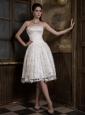 Customize A-line Strapless Short Wedding Dress Satin and Lace Knee-length