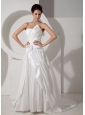 Customize A-line Strapless Wedding Dress Court Train Satin Hand Made Flower