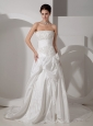Customize A-line Strapless Wedding Dress Court Train Taffeta Appliques