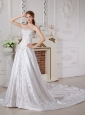 Customize A-line Sweetheart Appliques Wedding Dress Court Train Satin