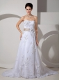 Customize Column Strapless Wedding Dress Court Train Satin Lace Belt