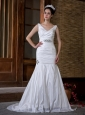 Customize Mermaid V-neck Wedding Dress Court Train Taffeta Ruch and Beading