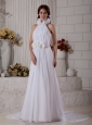 Customize Style Column High-neck Hand Made Flowers Wedding Dress Court Train Chiffon