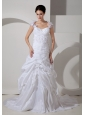 Customize Wedding Dress A-line Square Hand Made Flowers Court Train Taffeta