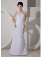 Customize Wedding Dress Column V-neck Appliques Brush Train Satin and Organza