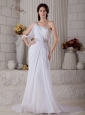 Elegant Column One Shoulder Beading Wedding Dress Court Train Chiffon