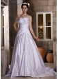 Exclusive Wedding Dress A-line Appliques With Beading Sweetheart Chapel Train Satin
