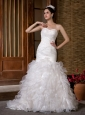 Fashionbale Mermaid Sweetheart Wedding Dress Court Train Taffeta and Organza Ruch and Ruffles