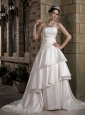 Fashionbale Wedding Dress A-line Strapless Appliques Court Train Taffeta