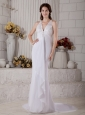 Mermaid V-neck Lace and Beading Wedding Dress Brush Train Chiffon