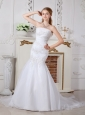 Inexpensive Mermaid Strapless Appliques Wedding Dress Brush Train Chiffon