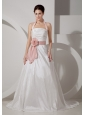 Low Cost A-line Halter Wedding Dress Court Train Taffeta Sash and Ruch
